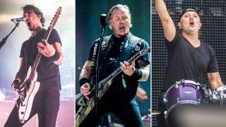 [L-R] Joe Duplantier, James Hetfield and Lars Ulrich