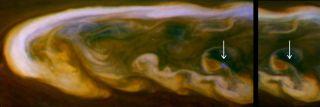 Daytime lightning on Saturn seen by Cassini spacecraft.