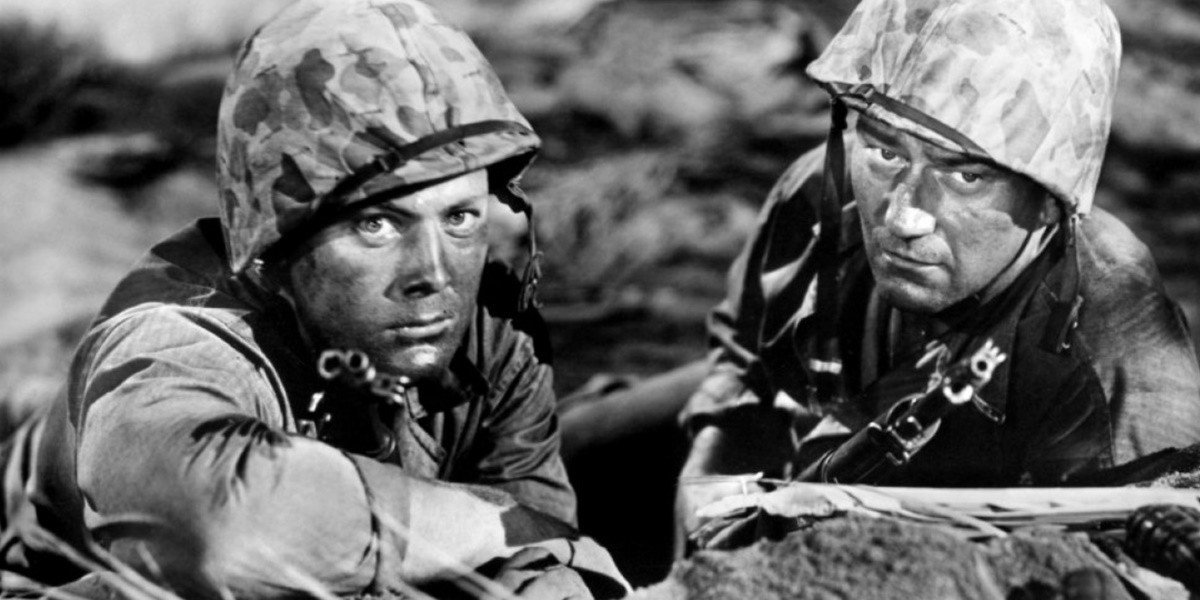 John Wayne on the right in Sands of Iwo Jima