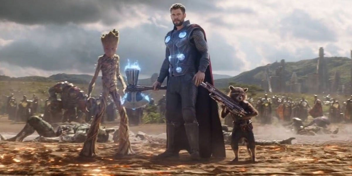 Chris Hemsworth as Thor in Avengers: Endgame with other Marvel heroes