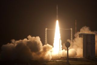 The European Space Agency's first Vega rocket lifts off from Guiana Space Center in Kourou, French Guiana in a flawless launch debut on Feb. 13, 2012.
