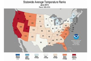 Statewide average temperature ranks for June