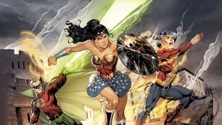 Illustration of Green Lantern, Wonder Woman and The Flash running towards the viewer