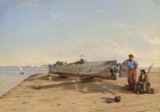 "An oil painting by Conrad Wise Chapman, ""Submarine Torpedo Boat H.L. Hunley,"" from Dec. 6, 1863."