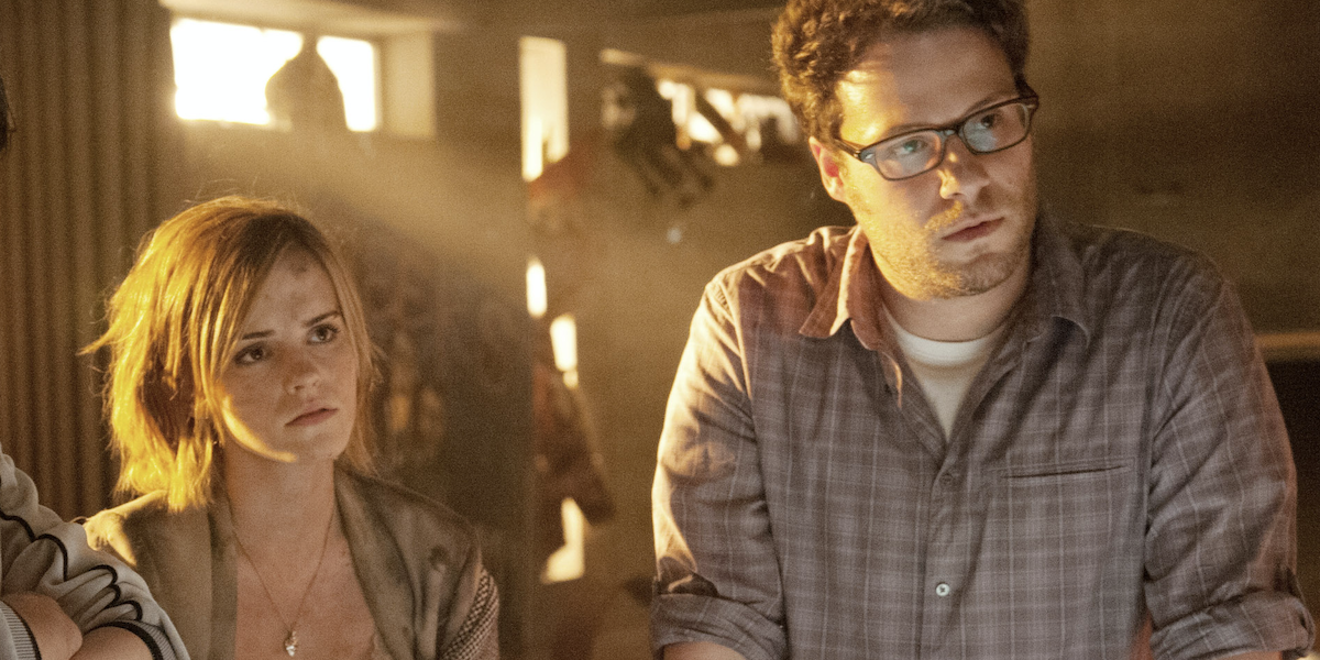 Emma Watson and Seth Rogen as themselves in the apocalypse movie This is the End