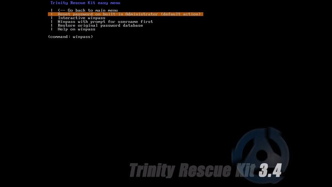 Trinity Rescue Kit's Windows password recovery menu