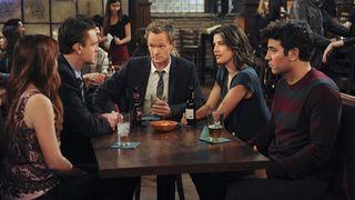 Neil Patrick Harris, Alyson Hannigan, Jason Segel, Josh Radnor, and Cobie Smulders in How I Met Your Mother