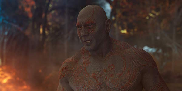 Dave Bautista as Drax in Guardians of the Galaxy Vol. 2
