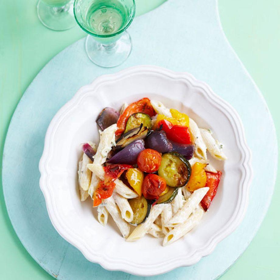 Mediterranean Roasted Vegetable and Tzatziki Pasta Recipe
