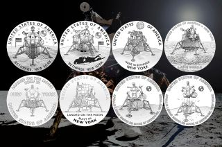 U.S. Mint artists created eight proposed designs highlighting the role of New York in the design and assembly of the Apollo lunar module for the American Innovation $1 coin program.