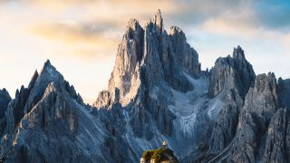 Hiker in the Italian Dolomites
