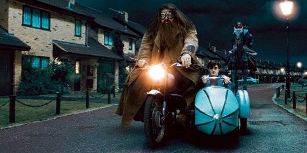 Hagrid on his motorbike with Harry Potter in the movies
