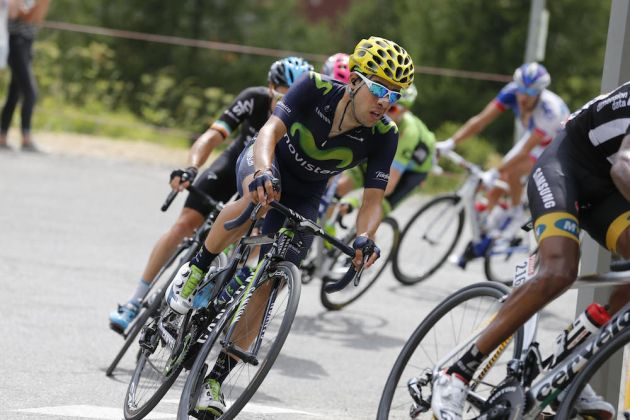 22 July 2015 102nd Tour de France Stage 17 : Digne-les-Bains - Pra Loup CASTROVIEJO Jonathan (ESP) Movistar, at Col d'Allos Photo : Yuzuru SUNADA