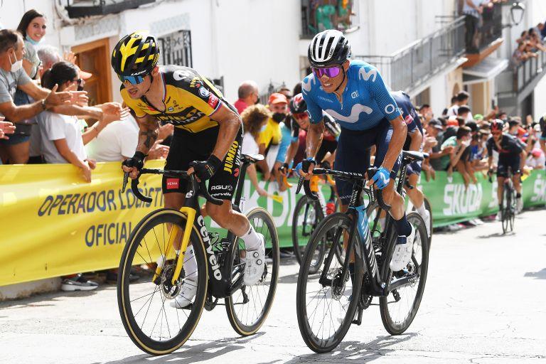Enric Mas battling with Primož Roglič on stage 11 of the Vuelta a España