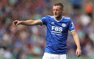 Leicester City striker Jamie Vardy pointing | Leicester v Napoli live stream