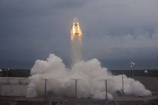 SpaceX's Crew Dragon capsule launches on an uncrewed abort system test on May 6, 2015 at Cape Canaveral Air Force Station in Florida.
