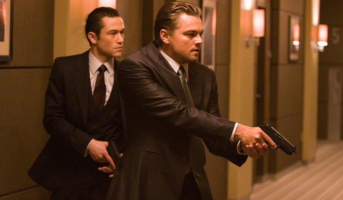 Inception Joseph Gordon-Levitt and Leonardo DiCaprio storming a hotel hallway