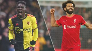 Ismaila Sarr of Watford and Mohamed Salah of Liverpool