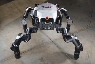 "Nicknamed ""Clyde,"" the RoboSimian robot built by engineers at NASA's Jet Propulsion Laboratory is facing off against other robots in the DARPA Robotics Challenge in Pomona, California on June 5 and 6."
