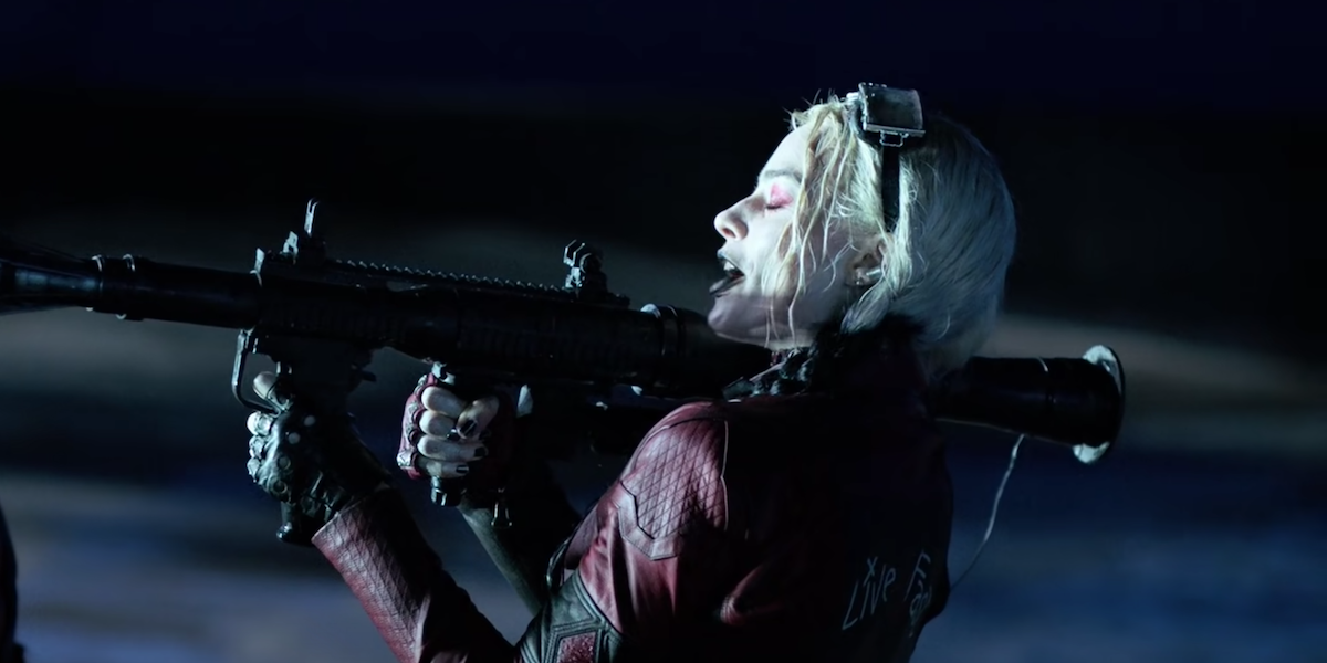 Harley using a rocket launcher in The Suicide Squad