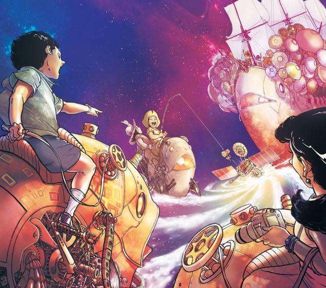 Adegan seni fantasi anak-anak mengendarai makhluk mekanik di depan kapal, di awan