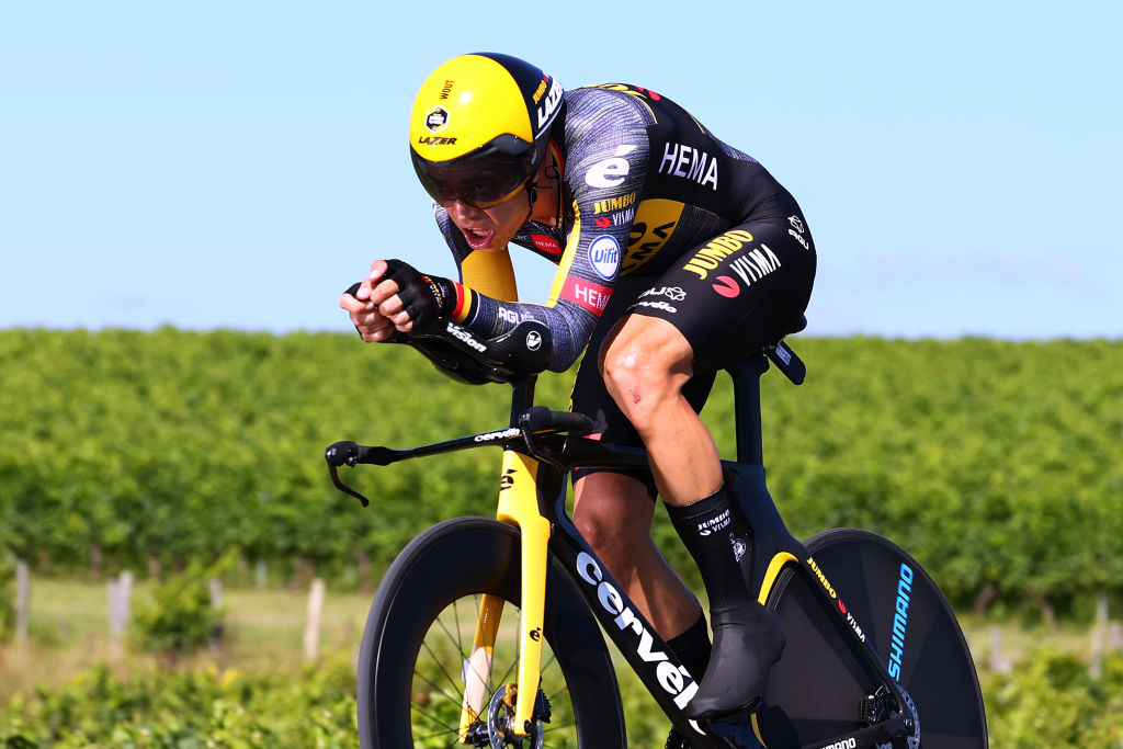 SAINTEMILION FRANCE JULY 17 Wout Van Aert of Belgium and Team JumboVisma during the 108th Tour de France 2021 Stage 20 a 308km Individual Time Trial Stage from Libourne to SaintEmilion 75m Vineyards ITT LeTour TDF2021 on July 17 2021 in SaintEmilion France Photo by Michael SteeleGetty Images