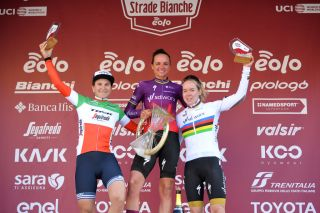 The podium at the 2021 Strade Bianche Women
