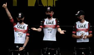 Team UAE Emirates Tadej Pogacar of Slovenia C attends the teams presentation two days ahead of the first stage of the 108th edition of the Tour de France cycling race near Brest on June 24 2021 Photo by Philippe LOPEZ AFP Photo by PHILIPPE LOPEZAFP via Getty Images