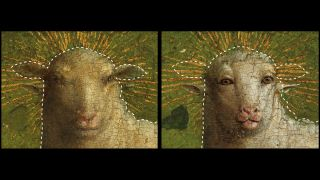 Left: Color image after the 1950s treatment. Right: Color image after the 2019 treatment that removed all of the 16th century overpaint, revealing the face of the Eyckian Lamb. The dotted lines indicate the outline of the head before removal of 16th century overpaint.