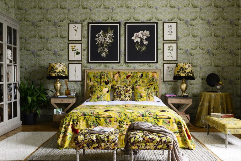 bold botanical bedroom wallpaper tree print Mindthegap