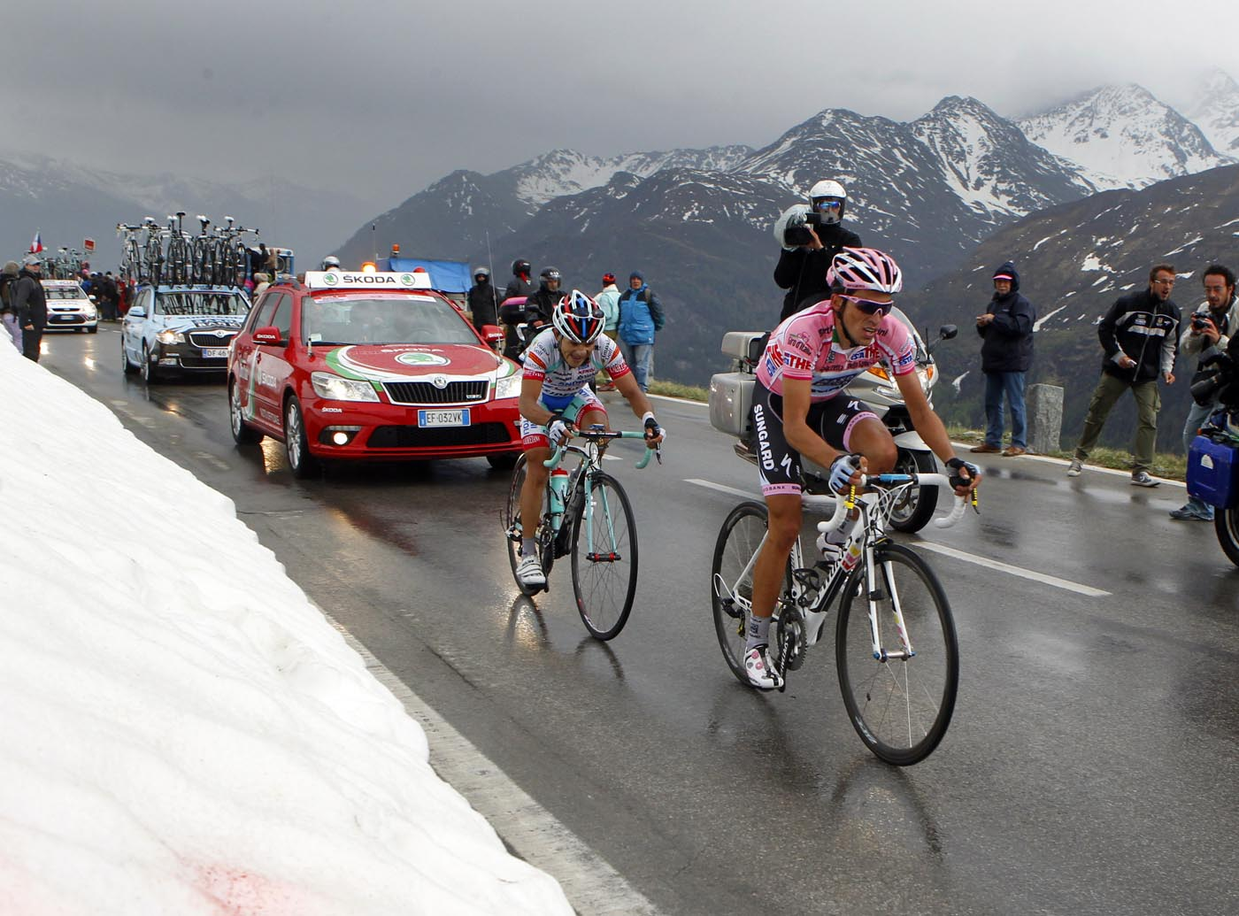 Alberto Contador and Jose Rujano on Grossglockner, Giro d