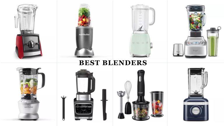 an 8-grid collage image showing w&h's selection of the best blenders on the market, including the Sage Super Q, Vitamix A2300i, NutriBullet Blender Combo, KitchenAid Artisan K400 blender, and more