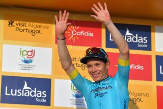 Astana's Miguel Angel López celebrates his victory on stage 4 of the 2020 Volta ao Algarve