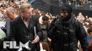 Christopher Nolan and John David Washington on set of Tenet.