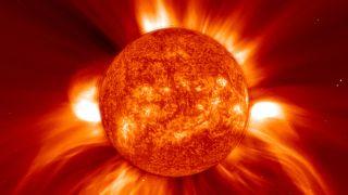 A coronal mass injection (CME) on the sun.
