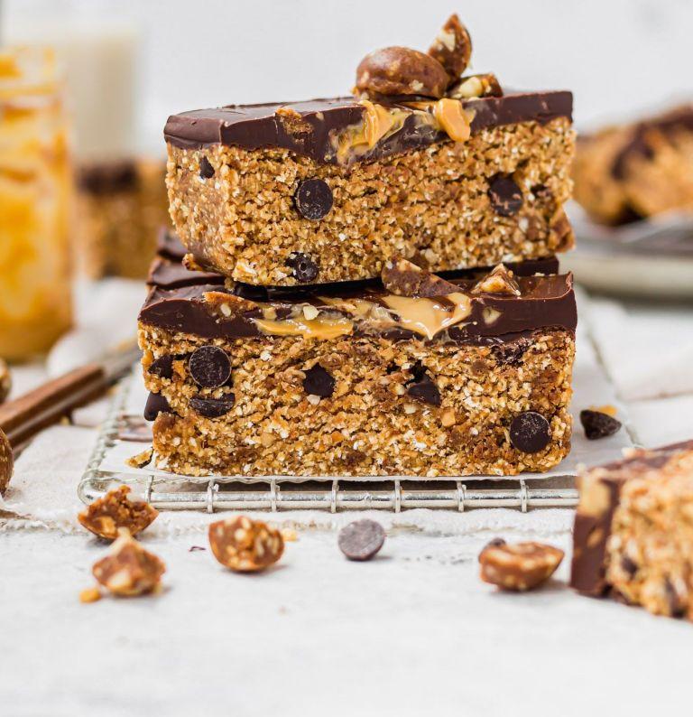 s stack of vegan peanut butter chocolate bars