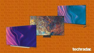 Best 55-inch 4K TVs against orange background