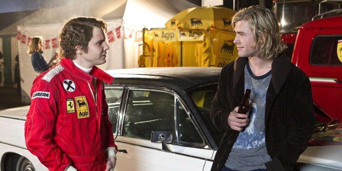 Daniel Bruhl and Chris Hemsworth in Rush