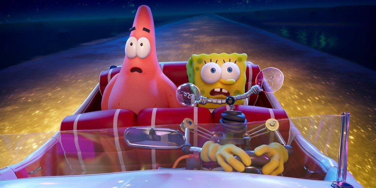 Otto, Patrick, and SpongeBob in The SpongeBob Movie: Sponge on the Run