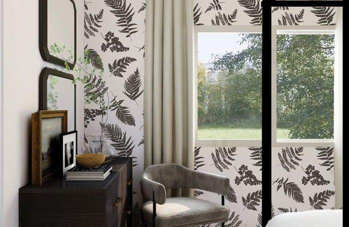 tempaper fern walllpaper in a bedroom