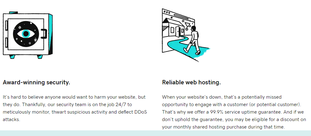 GoDaddy's webpage discussing its security features