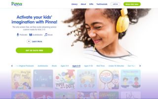 Homepage of Pinna website, featuring girl smiling with headphones on.