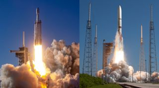 The U.S. Department of Defense has picked SpaceX and United Launch Alliance as its primary national security payload launch providers. Left: A SpaceX Falcon Heavy launch. Right: ULA's planned Vulcan Centaur rocket.