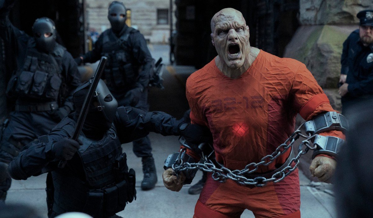 Monster-like guy screaming in chains Jupiter's Legacy Netflix