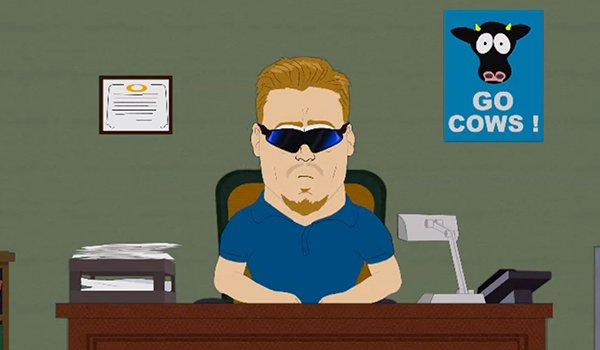 PC Principal at his desk on South Park