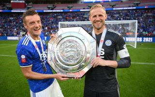 Jamie Vardy and Kasper Schmeichel, Leicester City