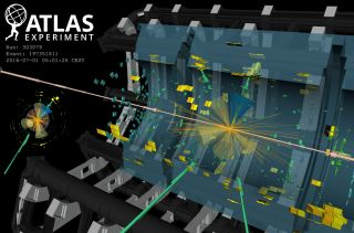CERN shared this visualization of one of the events in the new Higgs dataset.