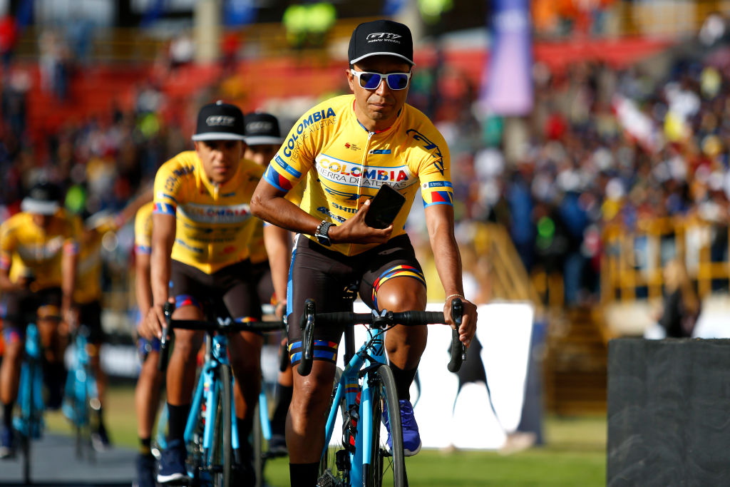 BOGOTA COLOMBIA FEBRUARY 09 Jhon Darwin Atapuma Hurtado of Colombia and Team Colombia Tierra De Atletas Gw Bicicletas during the 3rd Tour of Colombia 2020 Team Presentation on La Independencia Stadium Tunja TourColombiaUCI TourColombia2020 on February 09 2020 in Bogota Colombia Photo by Maximiliano BlancoGetty Images