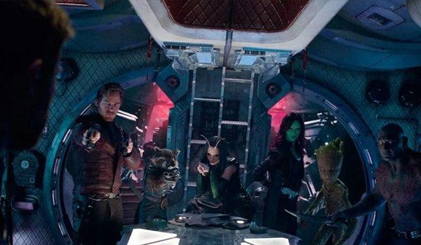 Chris Pratt Bradley Cooper Pom Klementieff Zoe Saldana Vin Diesel Dave Bautista in Avengers: Infinit