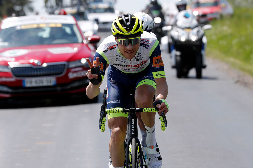 SAINT HAON LE VIEUXON FRANCE JUNE 01 Loc Vliegen of Belgium and Team Intermarch Wanty Gobert Matriaux in breakaway during the 73rd Critrium du Dauphin 2021 Stage 3 a 1722km stage from Langeac to Saint Haon Le Vieuxon UCIworldtour Dauphin dauphine June 01 2021 in Saint Haon Le Vieuxon France Photo by Bas CzerwinskiGetty Images
